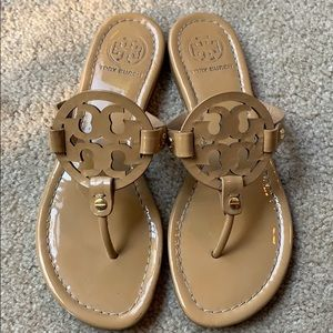 Tory Burch Nude Patent Leather Miller Sandals 7 M